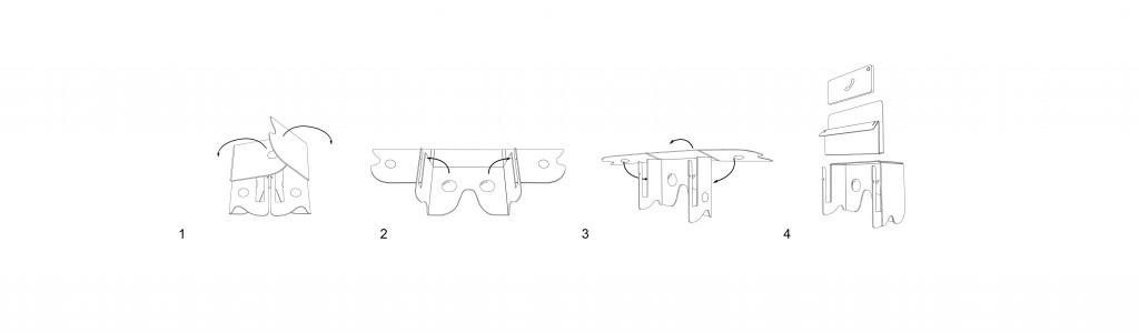 Stappen VRbril vouwen